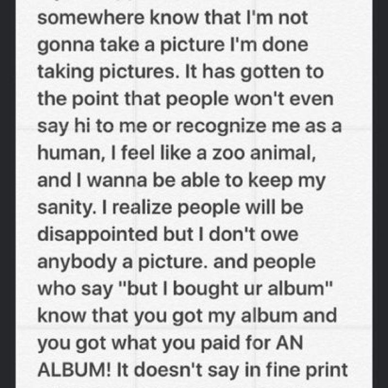 Informó a sus fans que no se tomará más fotos con ellos Foto:Vía Instagram/@justinbieber. Imagen Por: