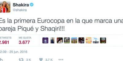 Shakira sigue muy de cerca las acciones del torneo. Foto:Vía twitter.com/Shakira. Imagen Por: