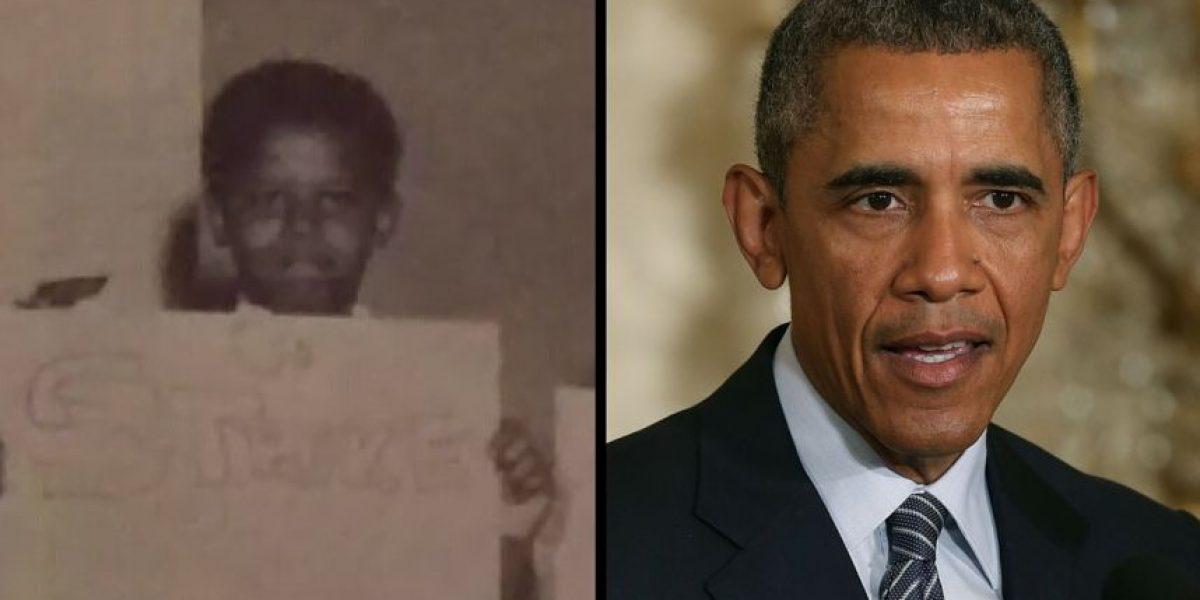 Revelan foto de Obama de niño en huelga contra la tarea