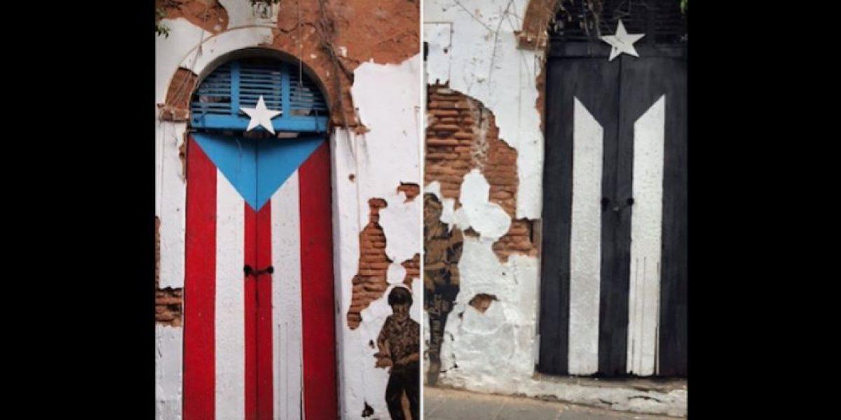 Pintan de negro las franjas y el triángulo de un dibujo de la bandera de P. R.