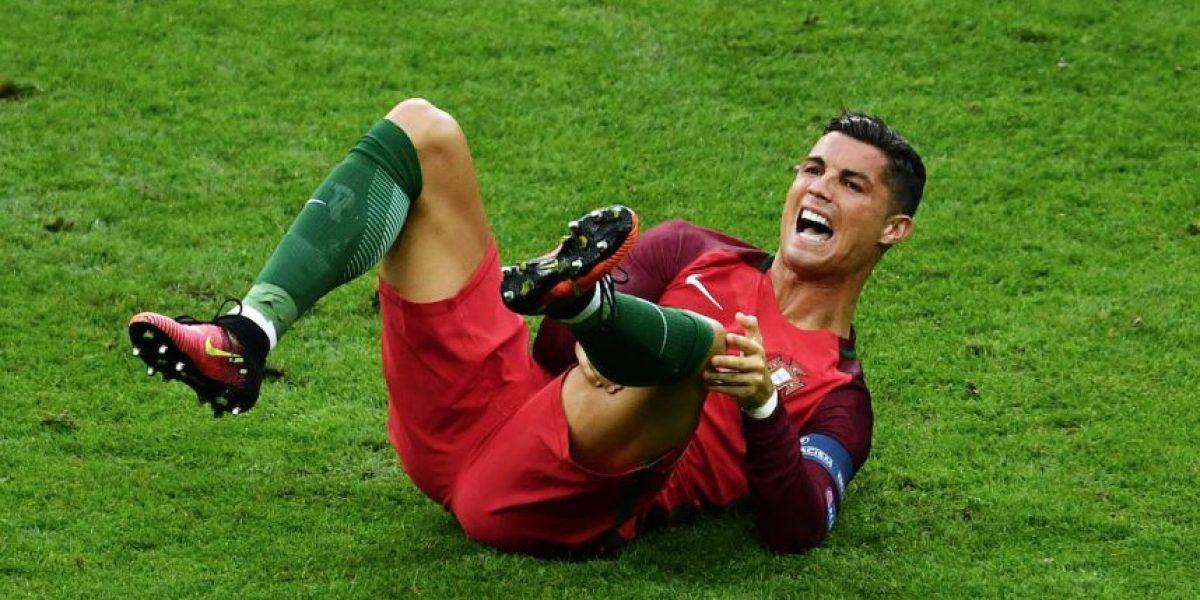 CR7 sale del partido final de la Euro con lesión