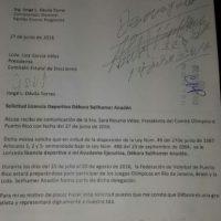 Documento de la denegación de la licencia deportiva. Imagen Por: