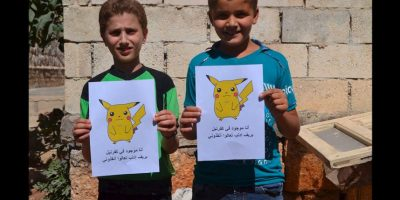 """Activistas de la organización """"Fuerzas Revolucionarias de Siria Media Office"""" utilizaron la popularidad de Pokémon Go, para llamar la atención sobre el conflicto en Siria. Foto:Twitter @RFS_mediaoffice. Imagen Por:"""