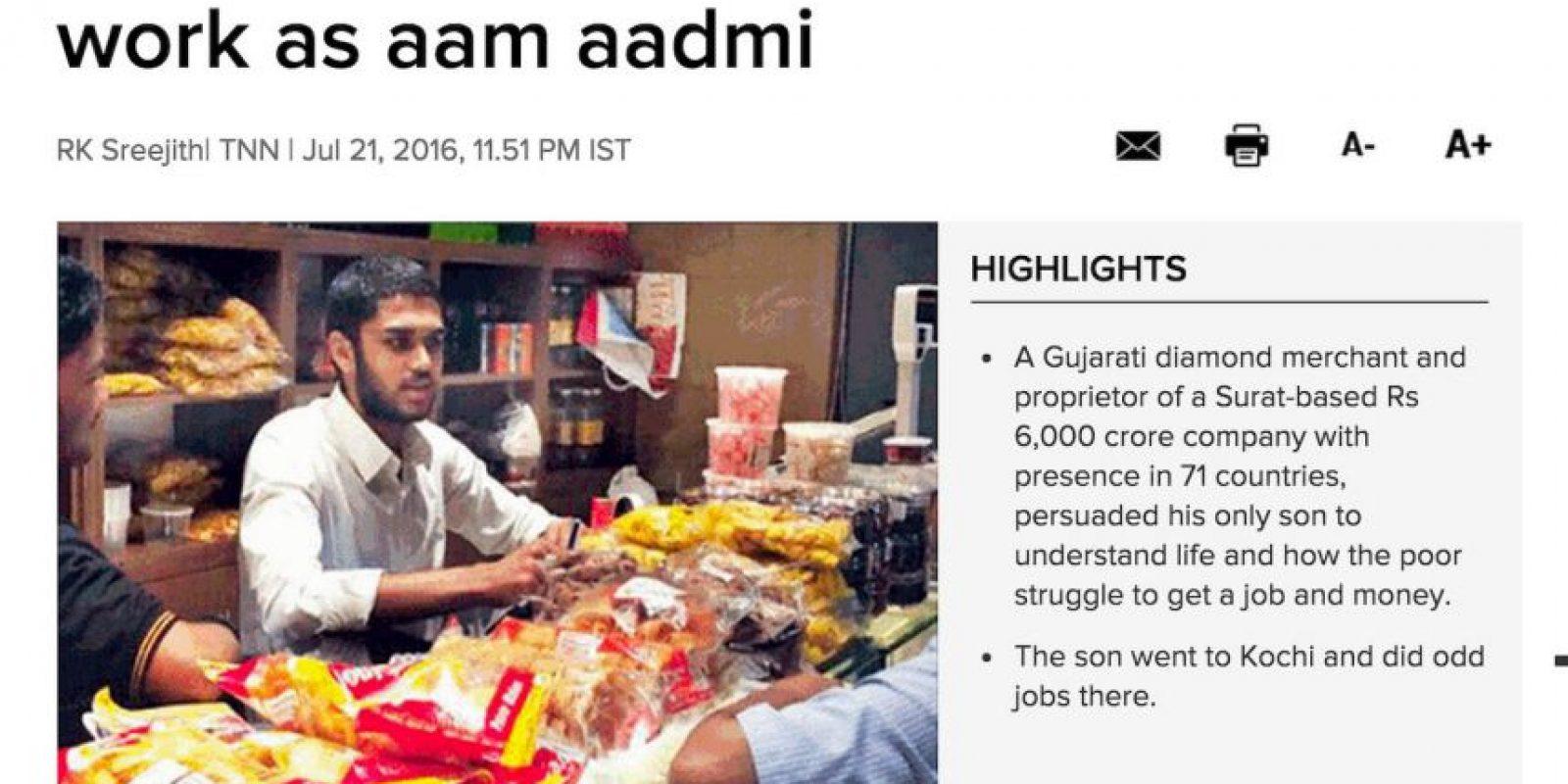 El primer trabajo que Dravya consiguió fue en una panadería. Foto:Reproducción The Times Of India. Imagen Por: