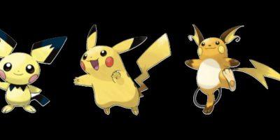 Pichu, Pikachu y Raichu. Foto:Pokémon. Imagen Por: