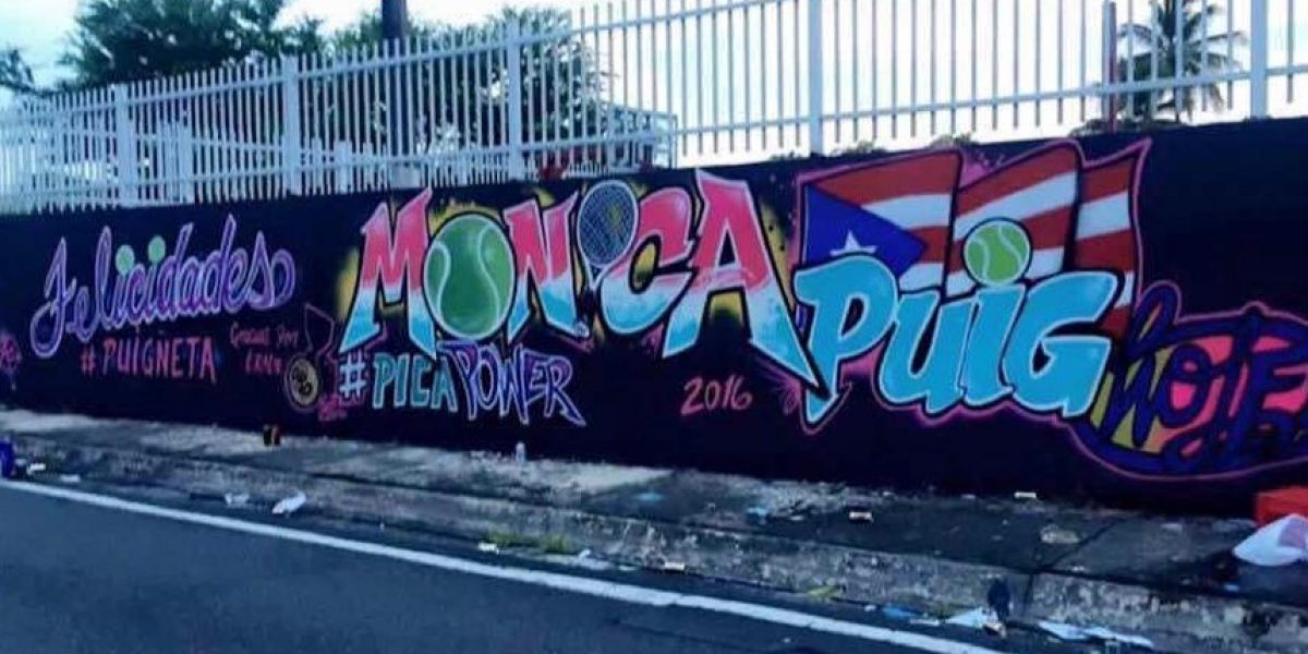 Realizan espectacular mural a Mónica Puig