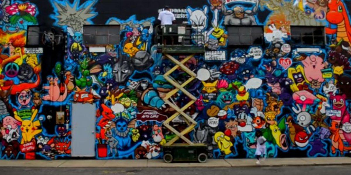 Artista de Long Island pinta mural de Pokémon