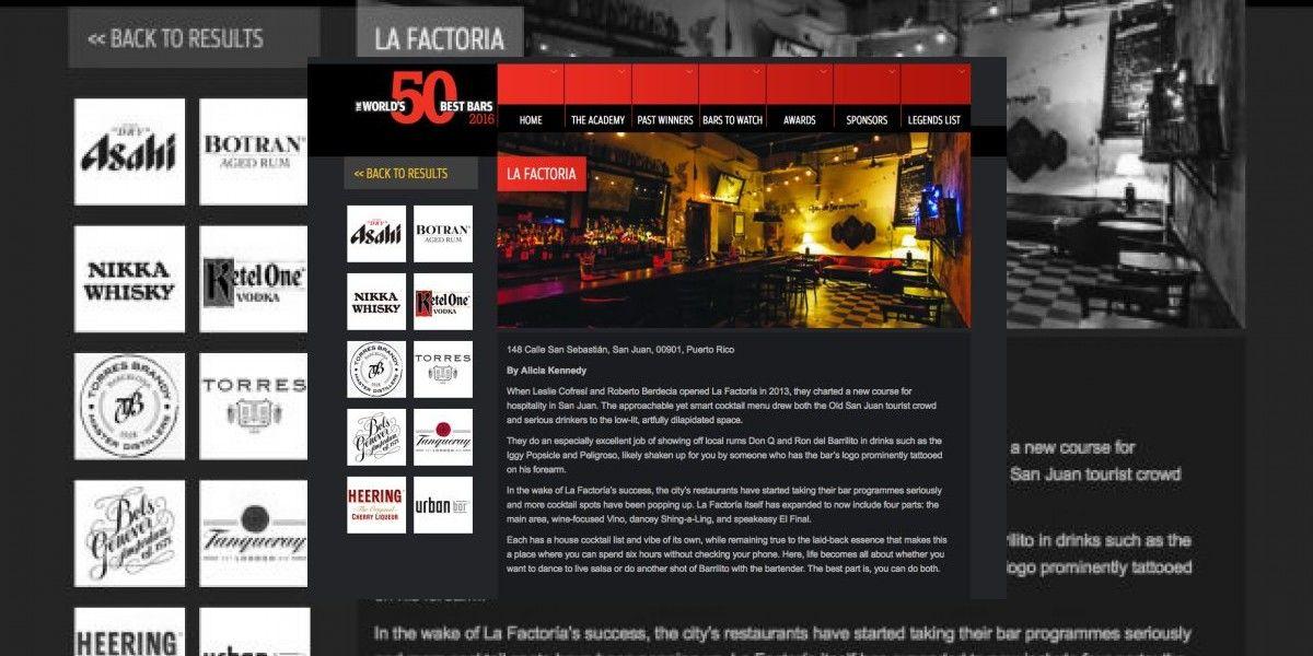 La Factoría revalida entre los mejores 50 bares del mundo