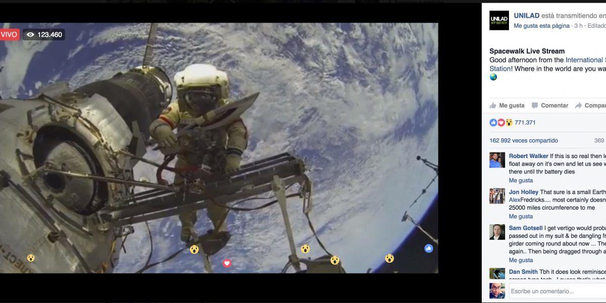 Si viste este Facebook Live desde el espacio te engañaron