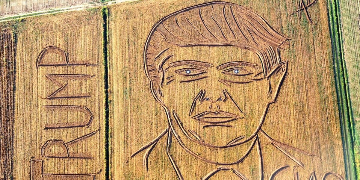 Artista traza retrato de Trump en un campo en Italia