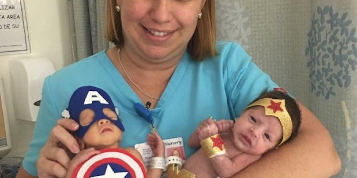 Disfrazan a bebés prematuros de Superhéroes