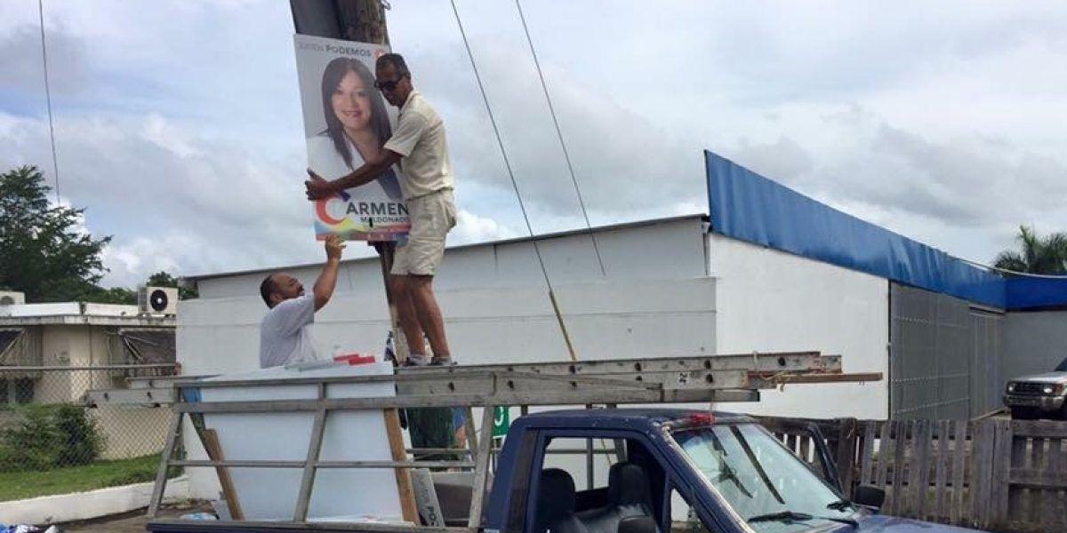 Nueva alcaldesa de Morovis inicia remoción de propaganda política