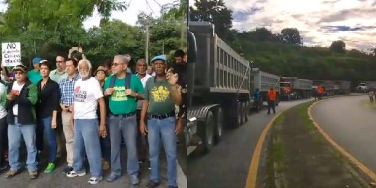 Detienen camiones con cenizas de carbón a la entrada de Peñuelas