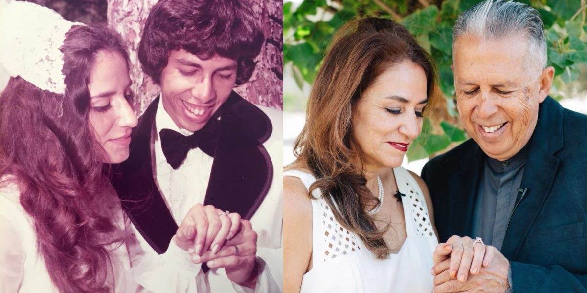 Recrean sus fotos de boda 42 años después