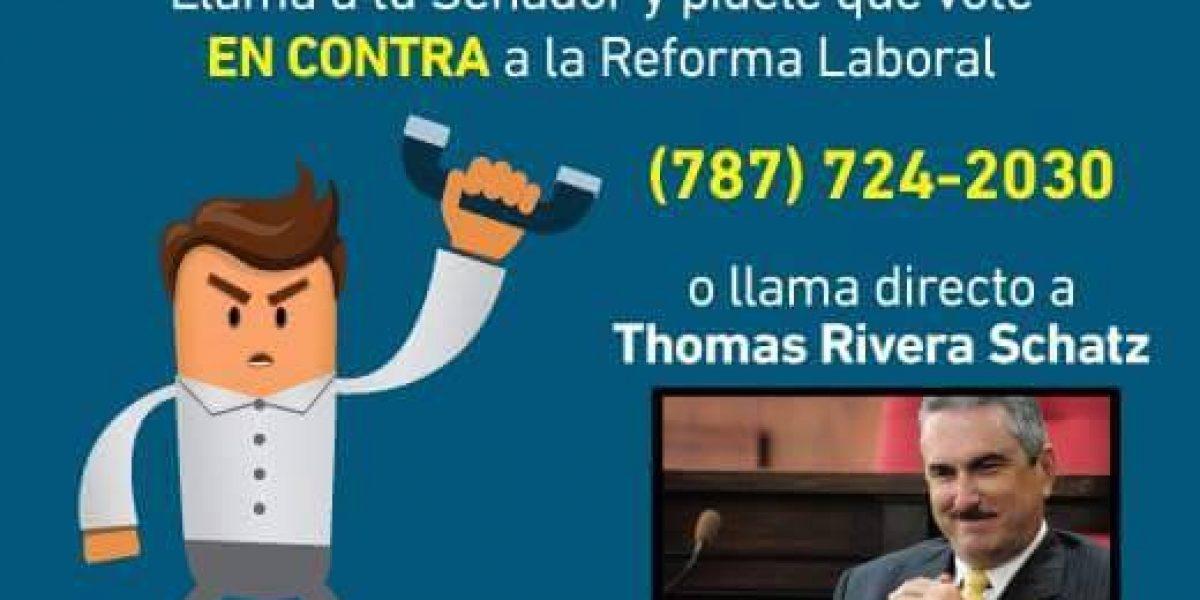 Invitan a llamar a senadores para que voten contra reforma laboral