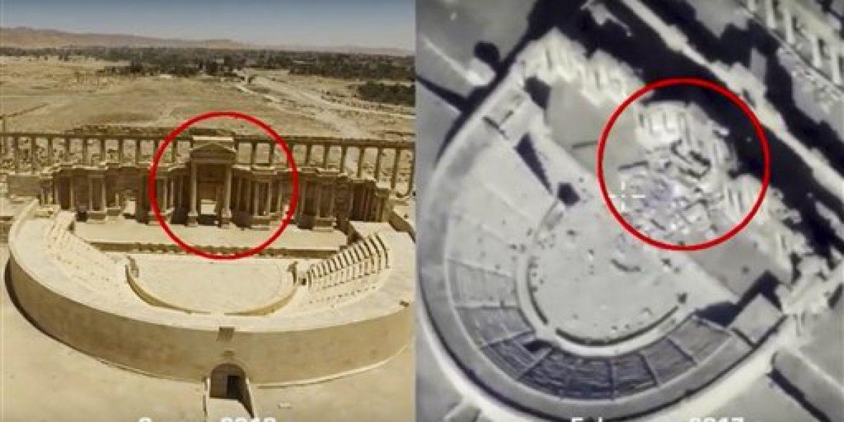 Drones muestran nuevos daños en antigua Palmira