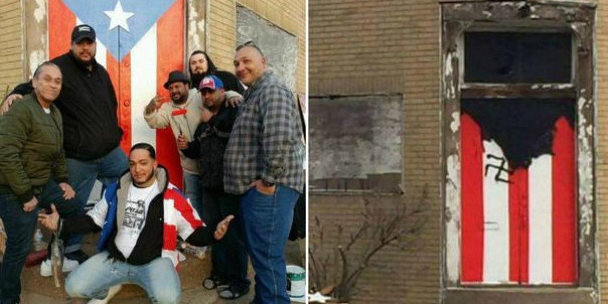 Pintan bandera puertorriqueña realizada en edificio abandonado en Nueva Jersey