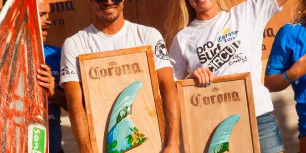 Revalida Brian Toth y sorprende nueva campeona en el Corona Pro Surf