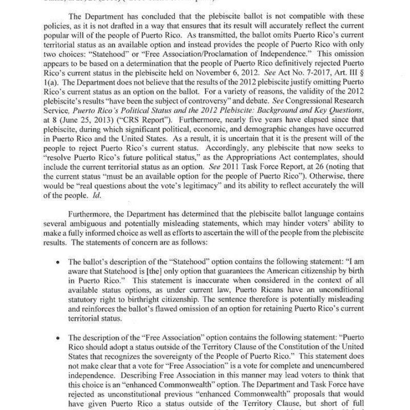 Carta del Departamento de Justicia enviada hoy al gobernador de Puerto Rico, Ricardo Roselló. / Suministrada. Imagen Por: Carta del Departamento de Justicia enviada hoy al gobernador de Puerto Rico, Ricardo Roselló. / Suministrada